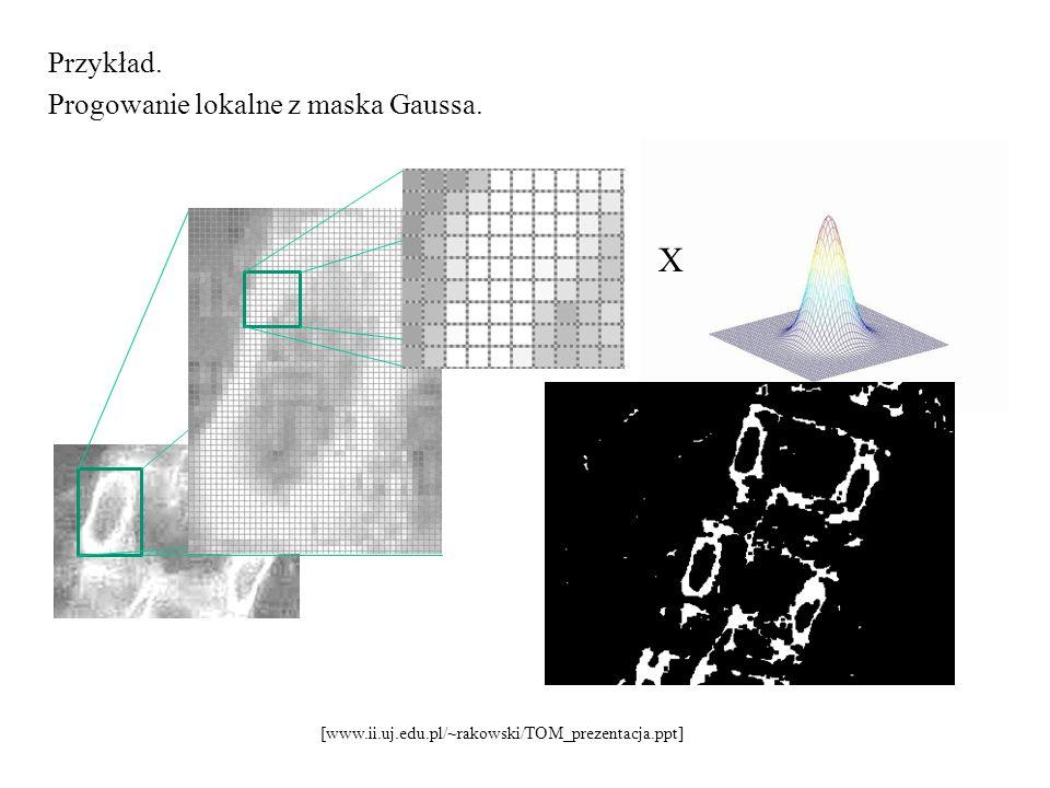 X Przykład. Progowanie lokalne z maska Gaussa.