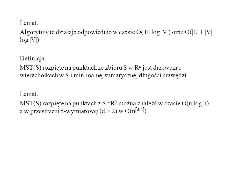 Lemat. Algorytmy te działają odpowiednio w czasie O(|E| log |V|) oraz O(|E| + |V| log |V|). Definicja.