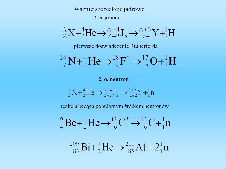 Wazniejsze reakcje jadrowe