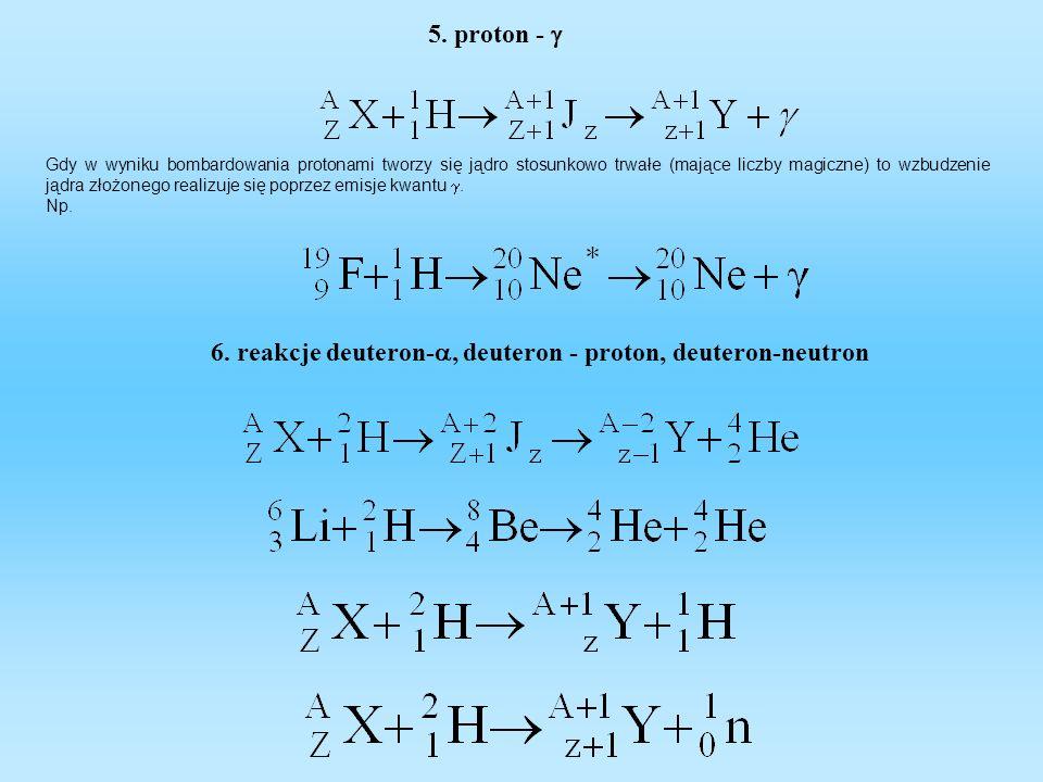 6. reakcje deuteron-a, deuteron - proton, deuteron-neutron