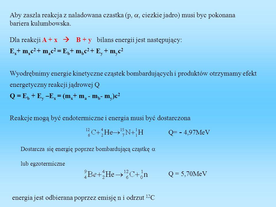 Dla reakcji A + x  B + y bilans energii jest następujący: