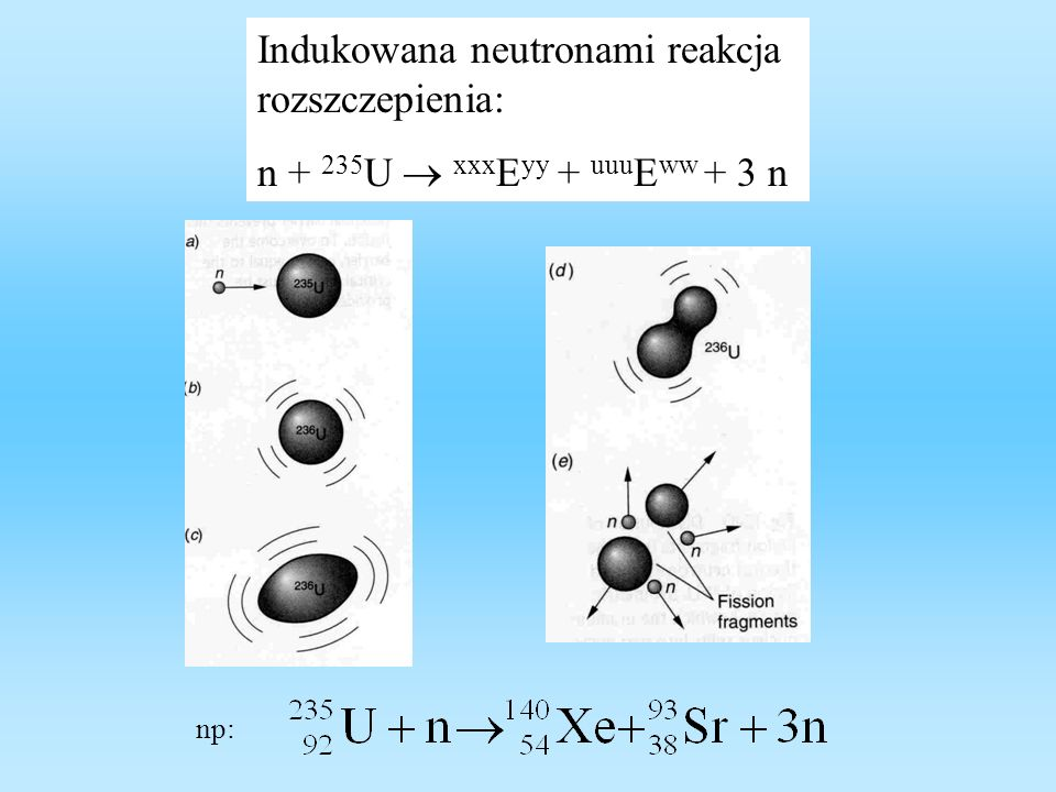 Indukowana neutronami reakcja rozszczepienia: