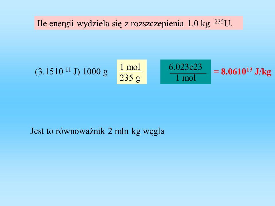 Ile energii wydziela się z rozszczepienia 1.0 kg 235U.