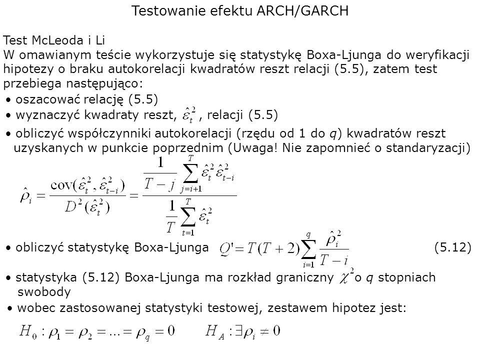 Testowanie efektu ARCH/GARCH