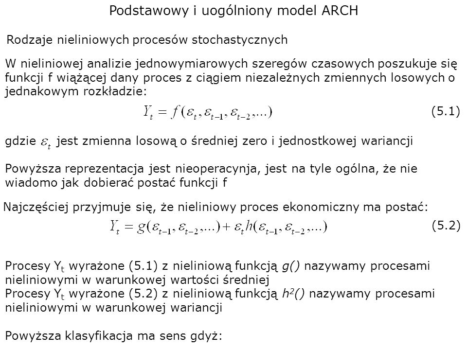 Podstawowy i uogólniony model ARCH