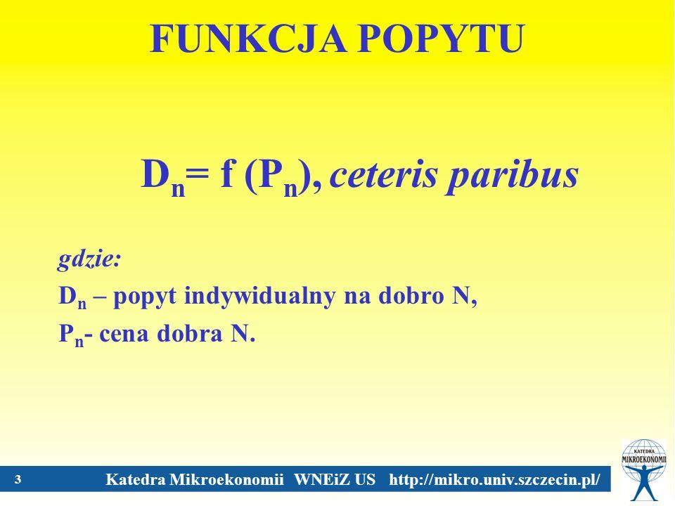 Dn= f (Pn), ceteris paribus