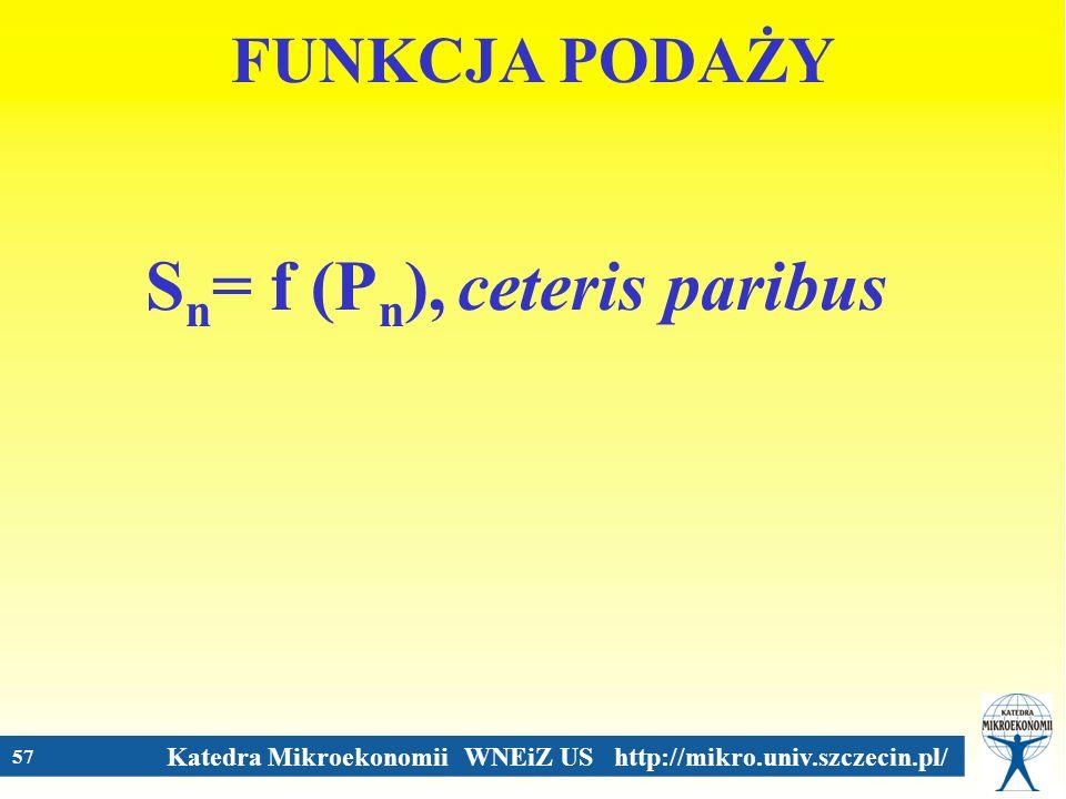 Sn= f (Pn), ceteris paribus