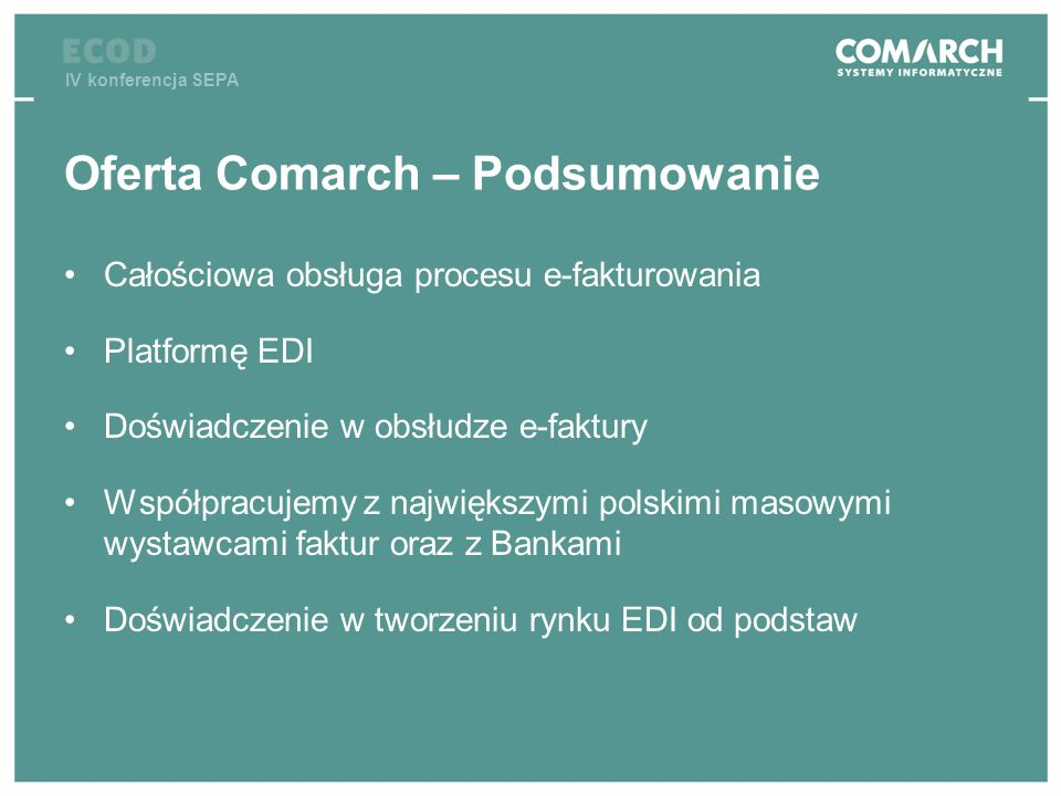 Oferta Comarch – Podsumowanie