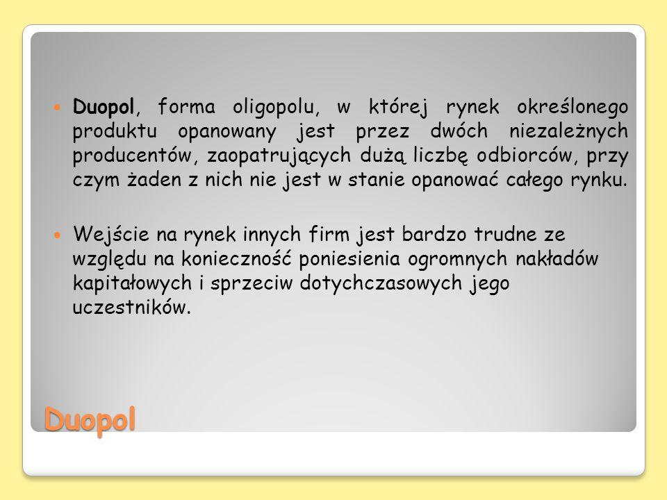 Duopol, forma oligopolu, w której rynek określonego produktu opanowany jest przez dwóch niezależnych producentów, zaopatrujących dużą liczbę odbiorców, przy czym żaden z nich nie jest w stanie opanować całego rynku.