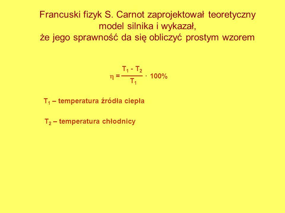 Francuski fizyk S. Carnot zaprojektował teoretyczny model silnika i wykazał, że jego sprawność da się obliczyć prostym wzorem