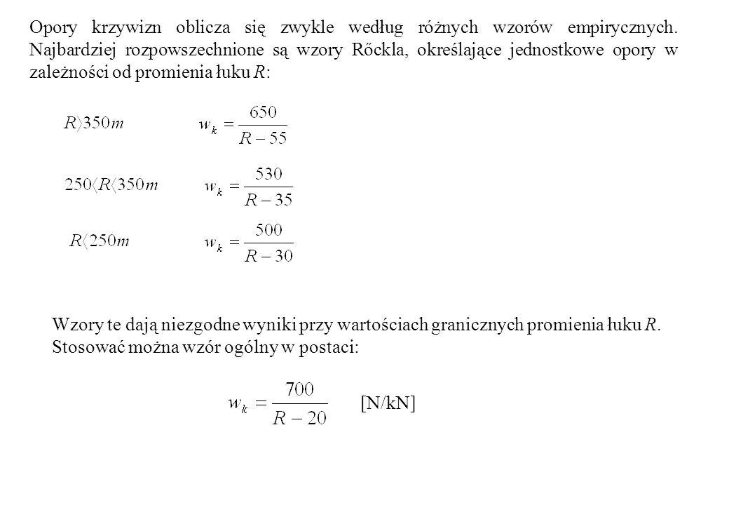 Opory krzywizn oblicza się zwykle według różnych wzorów empirycznych