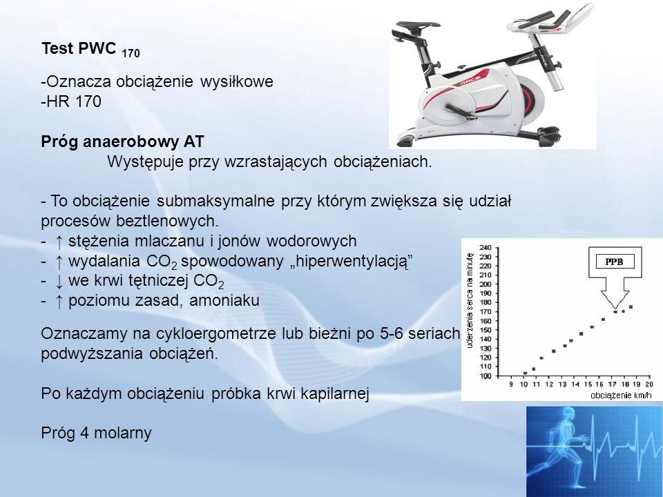 Test PWC 170Oznacza obciążenie wysiłkowe. HR 170. Próg anaerobowy AT. Występuje przy wzrastających obciążeniach.