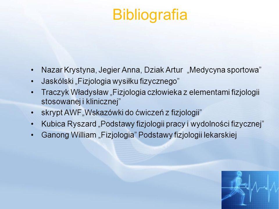 """BibliografiaNazar Krystyna, Jegier Anna, Dziak Artur """"Medycyna sportowa Jaskólski """"Fizjologia wysiłku fizycznego"""