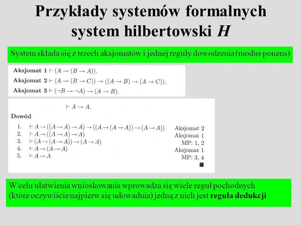 Przykłady systemów formalnych system hilbertowski H
