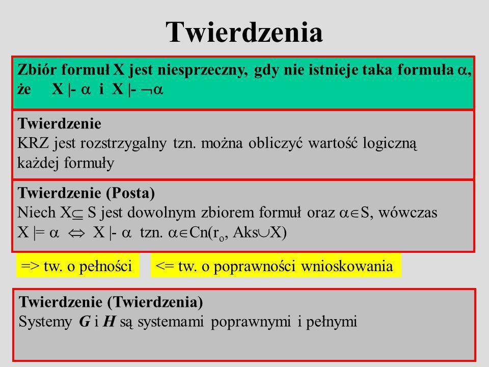 Twierdzenia Zbiór formuł X jest niesprzeczny, gdy nie istnieje taka formuła , że X |-  i X |- 
