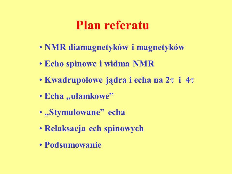 Plan referatu NMR diamagnetyków i magnetyków Echo spinowe i widma NMR