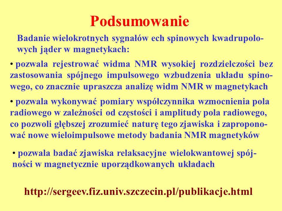 Podsumowanie http://sergeev.fiz.univ.szczecin.pl/publikacje.html