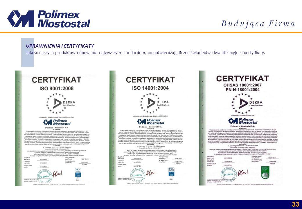 UPRAWNIENIA I CERTYFIKATY Jakość naszych produktów odpowiada najwyższym standardom, co potwierdzają liczne świadectwa kwalifikacyjne i certyfikaty.