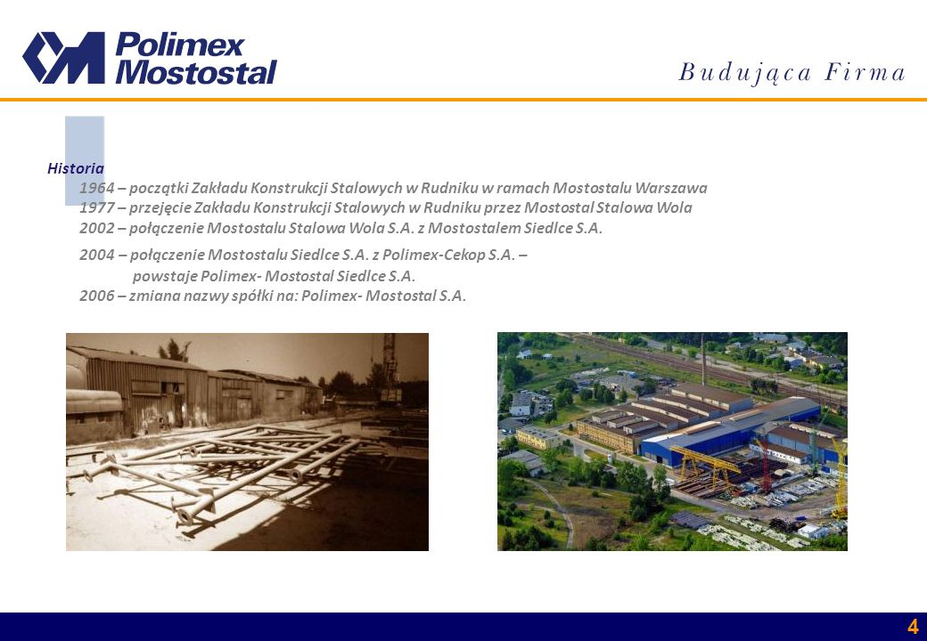 Historia 1964 – początki Zakładu Konstrukcji Stalowych w Rudniku w ramach Mostostalu Warszawa.