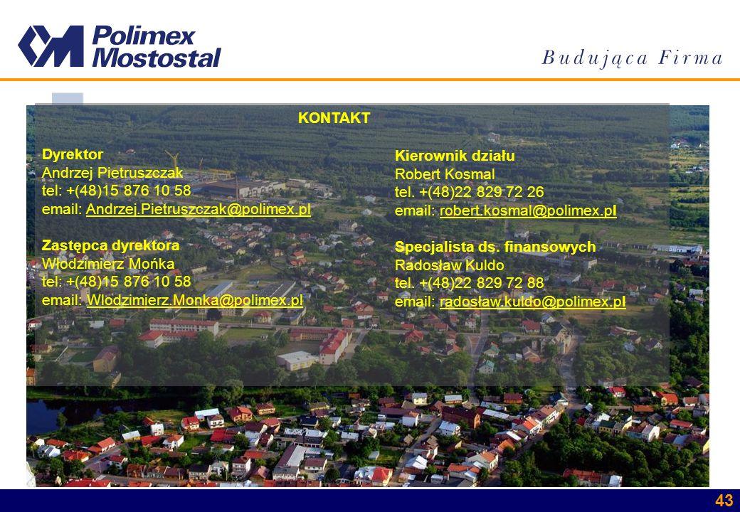 KONTAKT Dyrektor. Andrzej Pietruszczak. tel: +(48)15 876 10 58. email: Andrzej.Pietruszczak@polimex.pl.