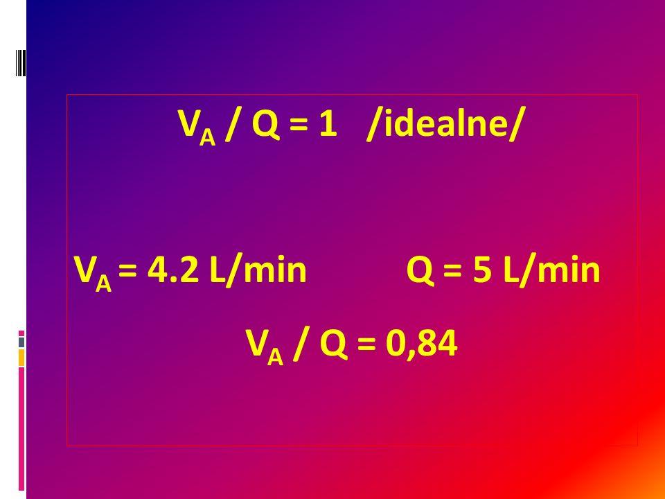 VA / Q = 1 /idealne/ VA = 4.2 L/min Q = 5 L/min VA / Q = 0,84