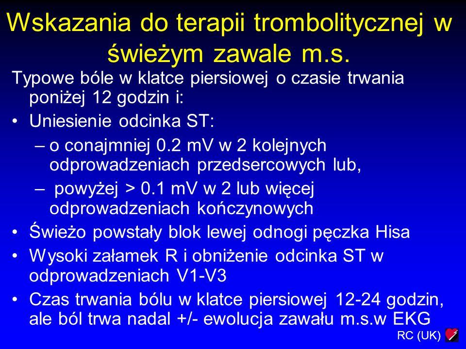 Wskazania do terapii trombolitycznej w świeżym zawale m.s.