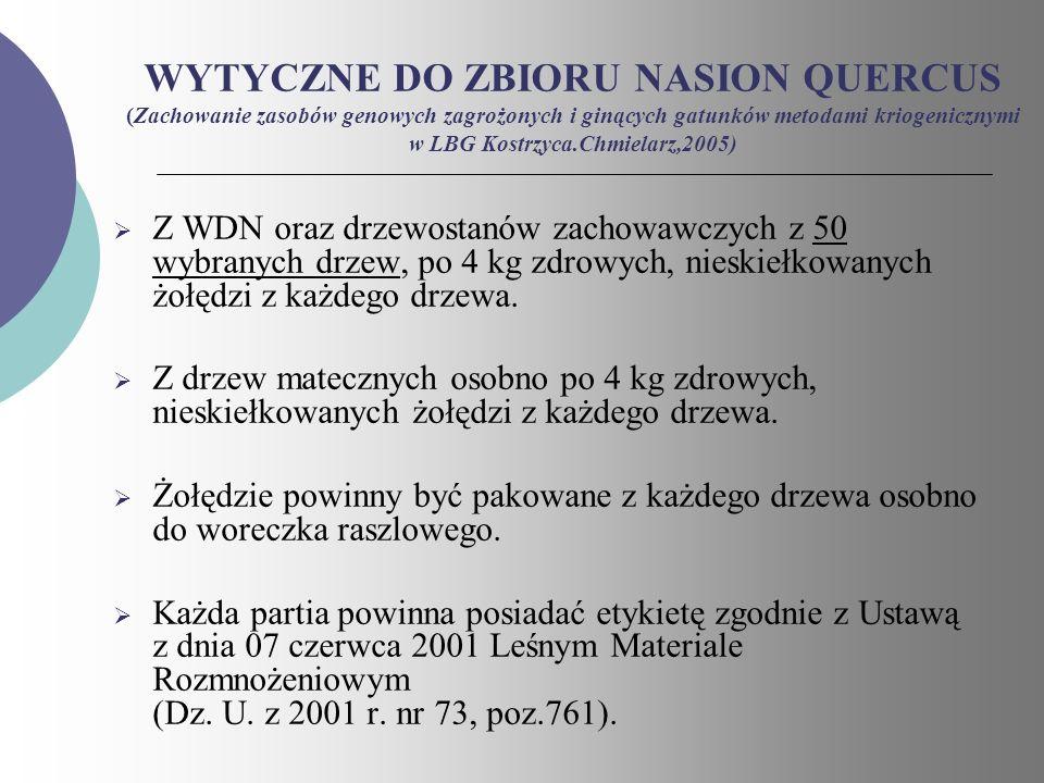 WYTYCZNE DO ZBIORU NASION QUERCUS (Zachowanie zasobów genowych zagrożonych i ginących gatunków metodami kriogenicznymi w LBG Kostrzyca.Chmielarz,2005)
