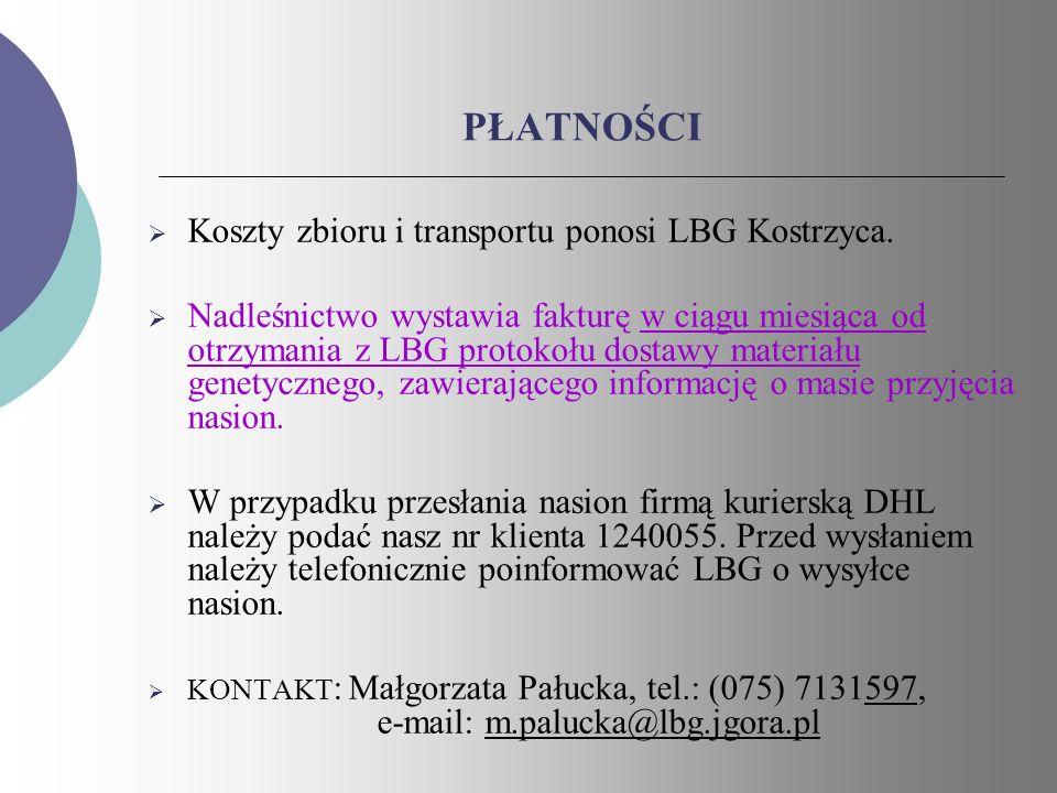 PŁATNOŚCI Koszty zbioru i transportu ponosi LBG Kostrzyca.
