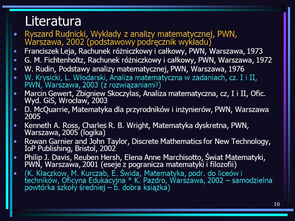 LiteraturaRyszard Rudnicki, Wykłady z analizy matematycznej, PWN, Warszawa, 2002 (podstawowy podręcznik wykładu)