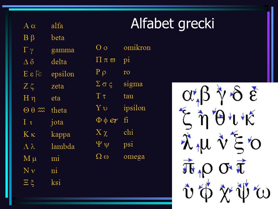 Alfabet grecki A a alfa B b beta G g gamma D d delta E e O epsilon