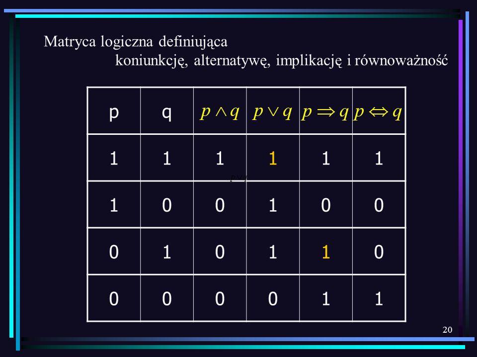 p q 1 Matryca logiczna definiująca