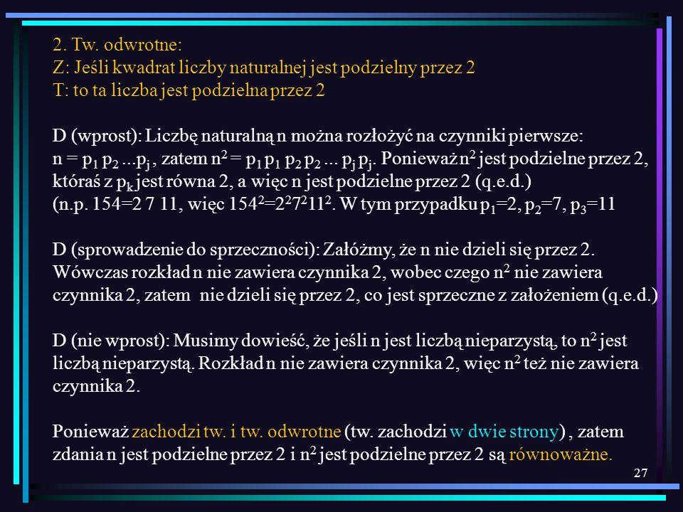2. Tw. odwrotne:Z: Jeśli kwadrat liczby naturalnej jest podzielny przez 2. T: to ta liczba jest podzielna przez 2.