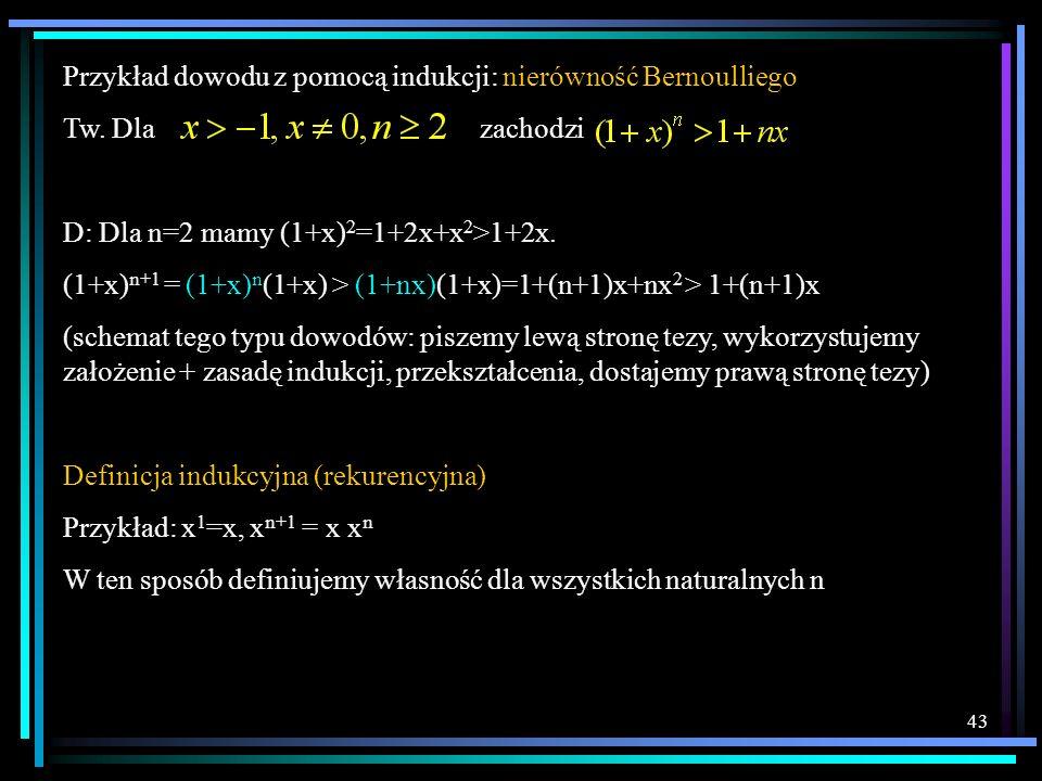 Przykład dowodu z pomocą indukcji: nierówność Bernoulliego