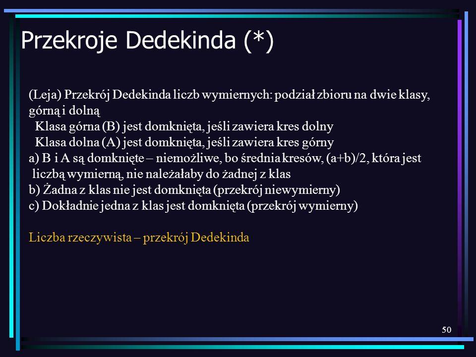 Przekroje Dedekinda (*)