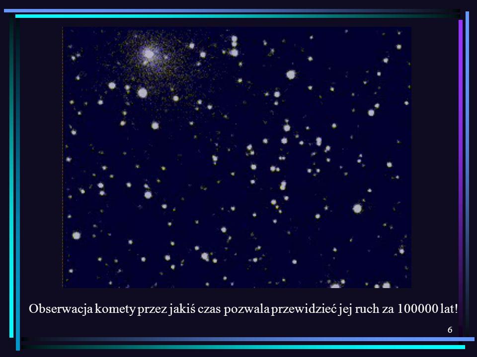 Obserwacja komety przez jakiś czas pozwala przewidzieć jej ruch za 100000 lat!