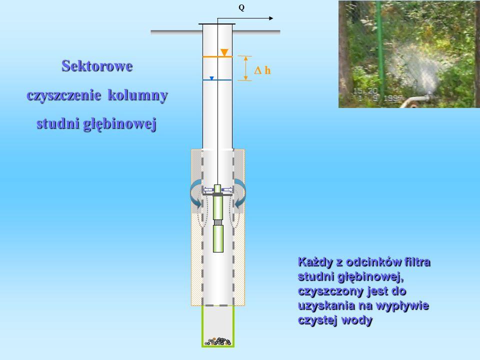 Sektorowe czyszczenie kolumny studni głębinowej