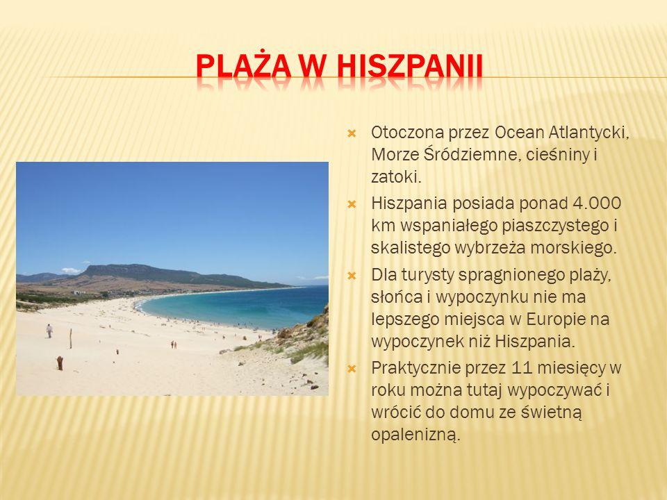Plaża w Hiszpanii Otoczona przez Ocean Atlantycki, Morze Śródziemne, cieśniny i zatoki.