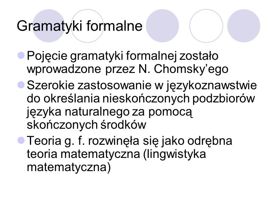 Gramatyki formalne Pojęcie gramatyki formalnej zostało wprowadzone przez N. Chomsky'ego.