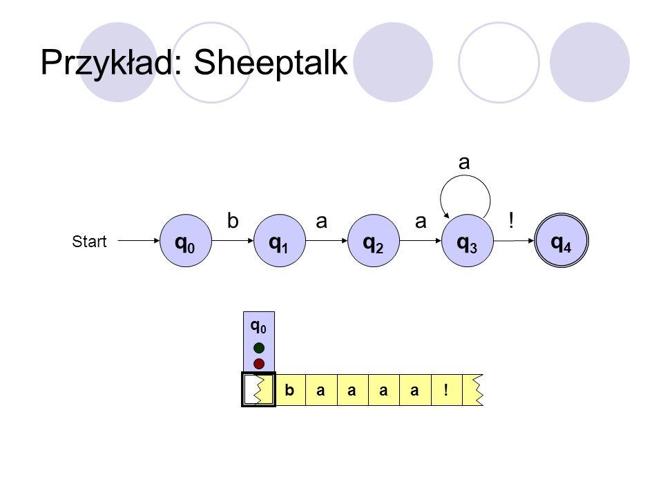 Przykład: Sheeptalk a b a a ! q0 q1 q2 q3 q4 Start q0 b a a a a !