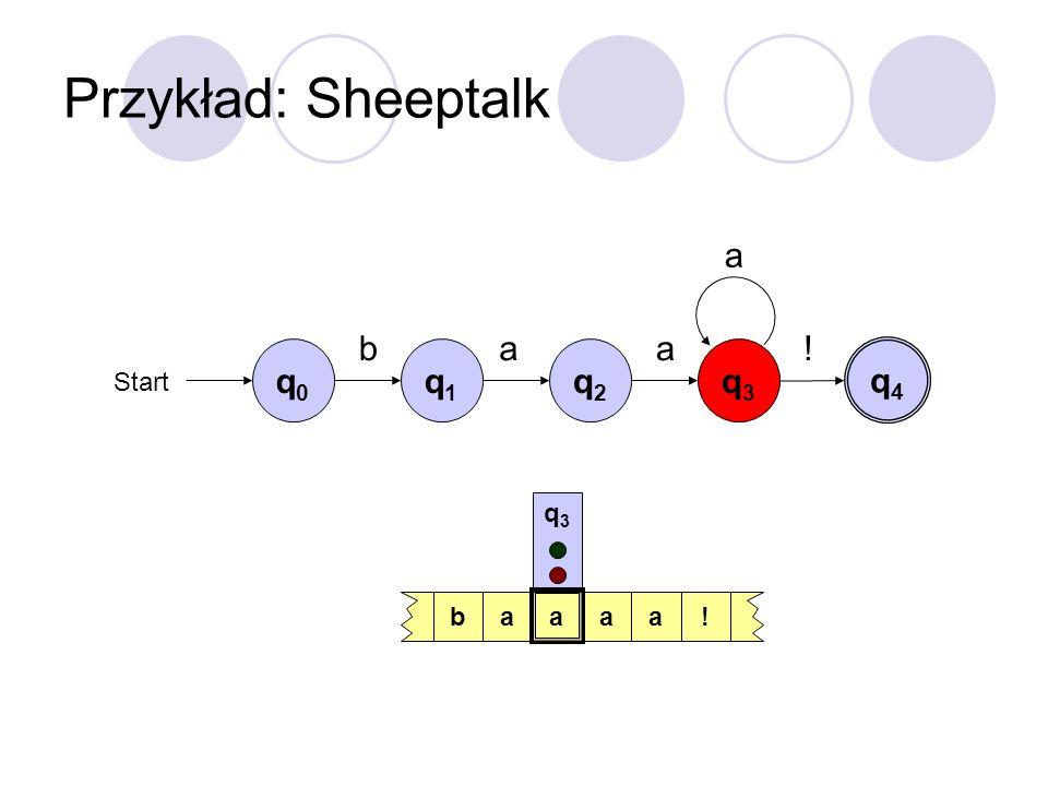 Przykład: Sheeptalk a b a a ! q0 q1 q2 q3 q4 Start q3 b a a a a !