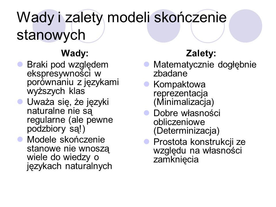 Wady i zalety modeli skończenie stanowych