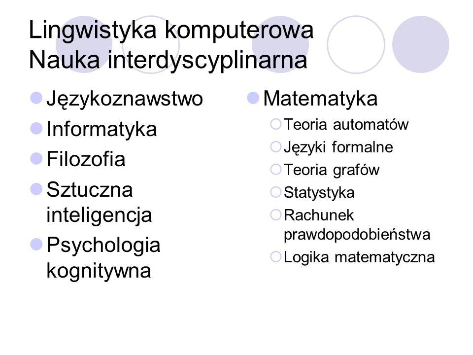 Lingwistyka komputerowa Nauka interdyscyplinarna