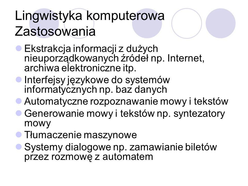 Lingwistyka komputerowa Zastosowania