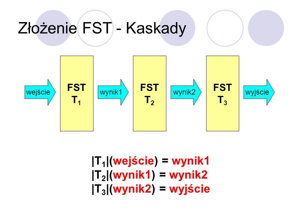 Złożenie FST - Kaskady |T1|(wejście) = wynik1 |T2|(wynik1) = wynik2