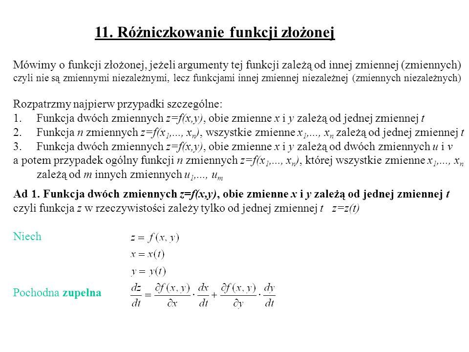11. Różniczkowanie funkcji złożonej