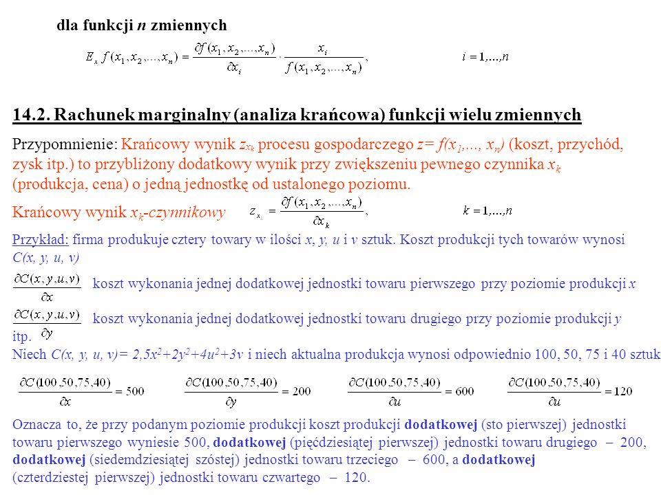 14.2. Rachunek marginalny (analiza krańcowa) funkcji wielu zmiennych