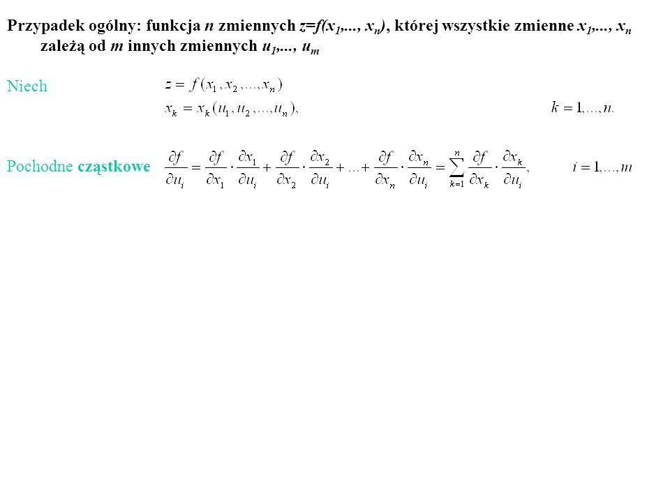 Przypadek ogólny: funkcja n zmiennych z=f(x1,