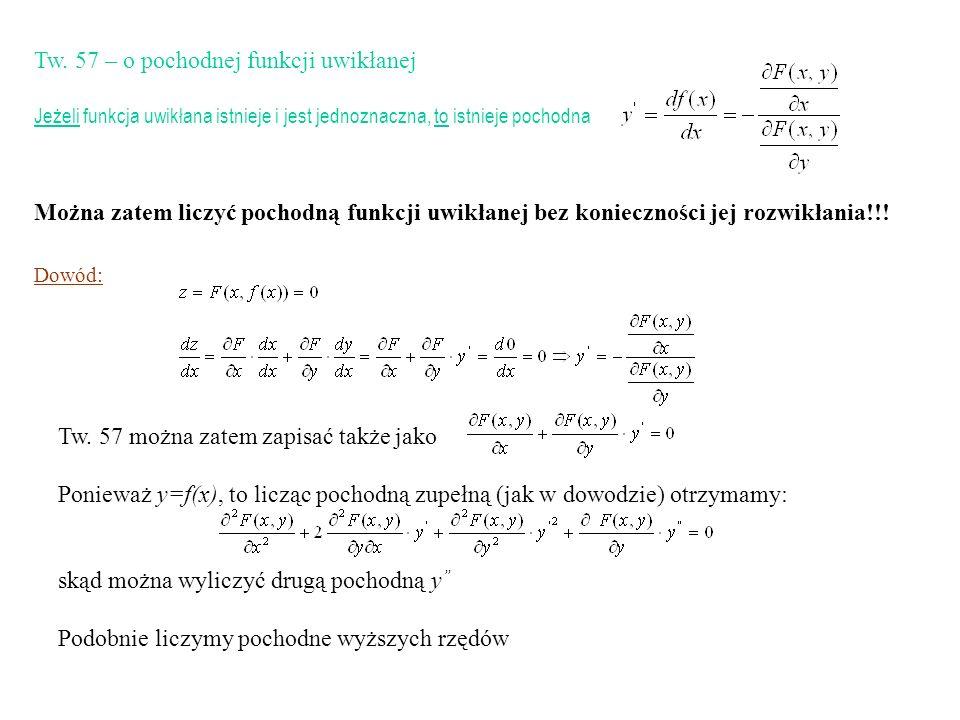Tw. 57 – o pochodnej funkcji uwikłanej