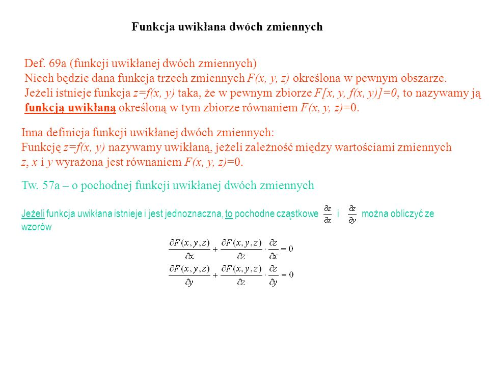 Funkcja uwikłana dwóch zmiennych