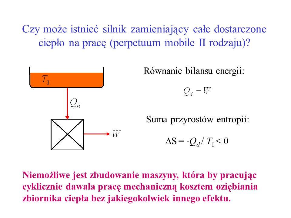 Czy może istnieć silnik zamieniający całe dostarczone ciepło na pracę (perpetuum mobile II rodzaju)